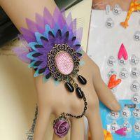 Wholesale peacock ring bracelet - European Retro Peacock Rose Bracelet Ring Fashion Color Charm Bracelet Wristbands Jewelry Set CN173