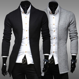 Wholesale Slim Fit Mens Black Cardigan - Free Shipping 2016 Autumn Mens Sweaters Fashion No Buttons Solid Color Minimalist Slim Fit Brand Cardigan Pullover 2 Colors Q30