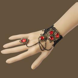 Wholesale Vampire Bracelet Charms - Retro Gothic Vampire Ruby Bracelet Ring Lady Bracelet Bangle Jewelry Vintage Gemstone Bracelet CN182