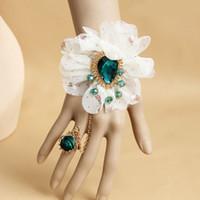 Wholesale Gemstone Wristbands - Fashion Chiffon Flower Charm Bracelet Green Gemstone Rose Bracelet Wristband Finger Ring Set Birthday Gift CN186