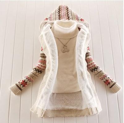 Best Women Knitwear Thick Winter Hooded Cardigan Coat Loose ...