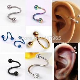 Wholesale Mix Order Stainless Steel Earrings - Min.order is $10 (mix order)Pick 16G Stainless Steel Flexo Twist Helix Cartilage Earring Piercing Lots JE166