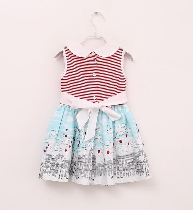 Wholesale-MN-2014 new Children's Girls preppy style Pure cotton stripe  Printed sleeveless dresses Navy, red Designer clothing