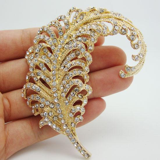 Al por mayor - Envío gratuito Pretty Peacock Feather 18K chapado en oro Clear Rhinestone Crystal Pins Broche