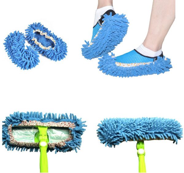 1 Pair Easy Lazy Perfect Cleaning Wipers Chenille Floor Wipes Plush Mop Shoe Cover Non Slip Water Absorb Colorful