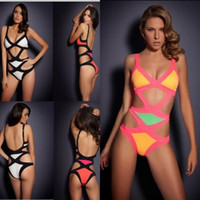 Wholesale plus size lady swimwear - MN Plus size Rayon high quality Bandage Bikini Agent Provocateur Neon HL Mazzy Monokini woman swimsuit Summer Swimwear Lady BodyCo