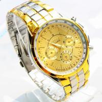 erkekler marka saatler toptan satış-Ücretsiz kargo Toptan Moda Marka Rosra erkek Altın Bilek İzle Erkekler Paslanmaz Çelik Analog Kuvars İzle Kol Saati Reloj