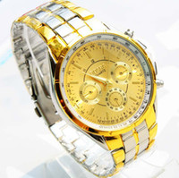 Wholesale Rosra Watches Gold - Free shipping Wholesale Fashion Brand Rosra Men's Gold Wrist Watch Men Stainless Steel Analog Quartz Watch Wristwatch Reloj