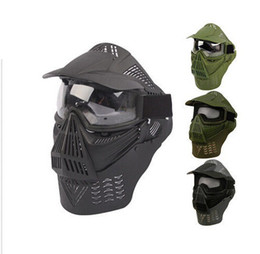 Wholesale Full Face Protector - Tactical Full face protection anti fog lens Guard Mask with Goggles & Neck Protector for Airsoft paintball accessories black BK