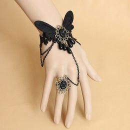 Wholesale Wedding Butterfly Party Favors - Retro Black Butterfly Bracelet Fashion Lace Charm Bracelet Creative Women Bangle Wedding Gift Favors CN195