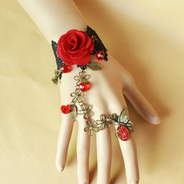Wholesale Vintage Red Rose Bracelet - Vintage Palace Butterfly Womens Bracelet Red Rose Lace Bangles Bracelet with Ring Girls Favors CN191