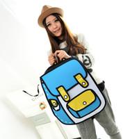 Wholesale Satchel 3d - Taiwan's second element explosion models cartoon package 2D stereoscopic 3D shoulder bag backpack schoolbag influx of men and women bags han