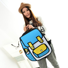 Wholesale Stereoscopic Bag - Taiwan's second element explosion models cartoon package 2D stereoscopic 3D shoulder bag backpack schoolbag influx of men and women bags han