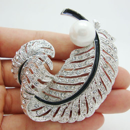 Wholesale Romance Brooch - Wholesale - Bridal Fashion Romance Peacock Feather Artificial Pearl Clear Rhinestone Crystal Brooch Pins Wedding Jewelry