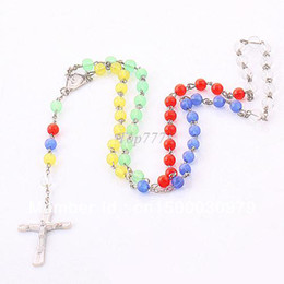 Wholesale Rosaries Gold Filled - Min Order 10pcs Fashion Rosary Necklace Pendant Cross Plastic Necklace For Men Women, Free Shipping!!