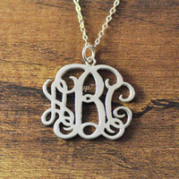 Wholesale Personalized Silver Initial Necklace - Silver plated Personalized Monogram Necklace 3 Initial Monogram Necklace Personalized necklace