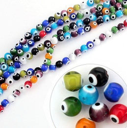 Wholesale Evil Eye Lampwork Beads - Mixed Colours Lampwork Glass Murano Evil Eye Beads 6mm 8mm 10mm Round Ball Loose Beads Jewelry & DIY Accessories Fit Bracelet BBC006 007 008