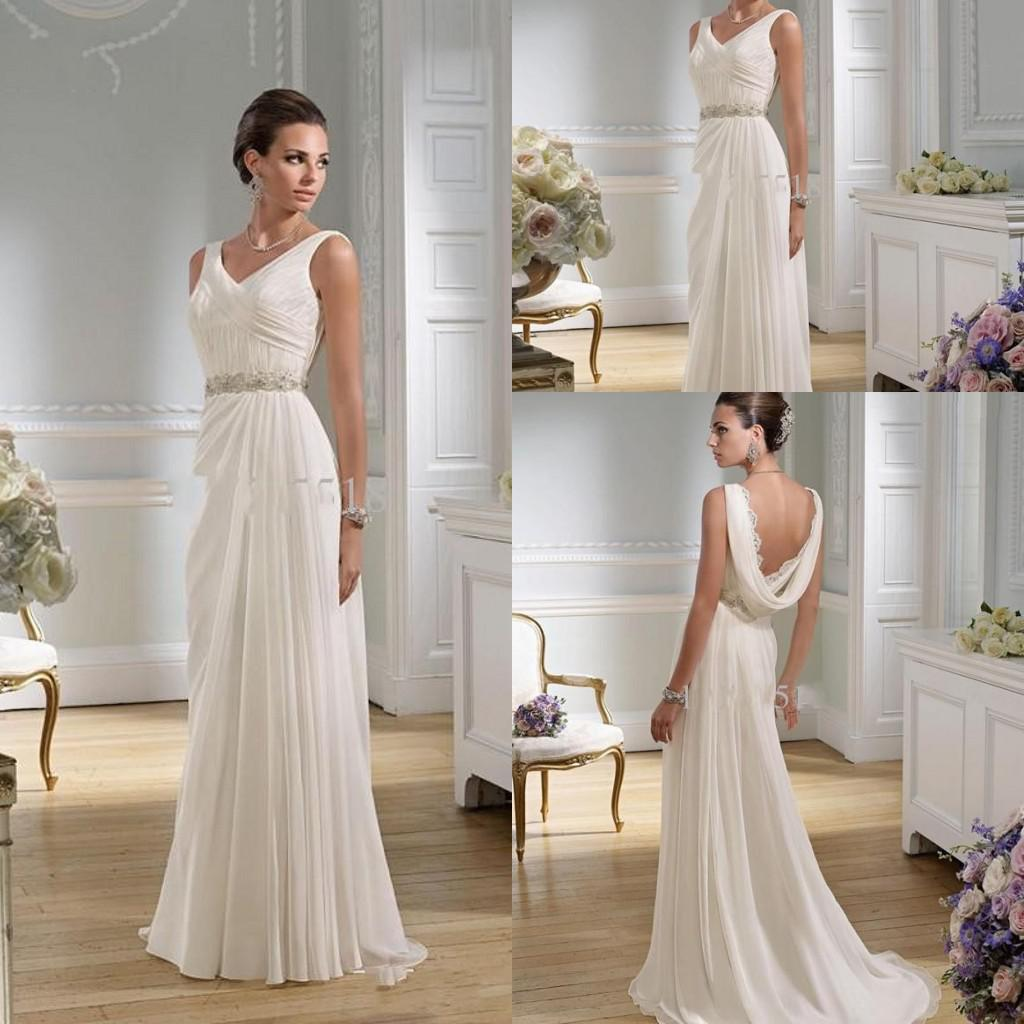 Summer Favourite Grecian Dresses: Graceful Sheath Wedding Dresses 2015 Summer A Line V Neck