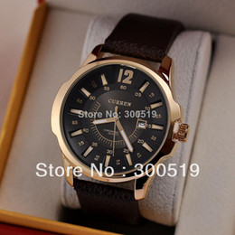 Wholesale 8123 Curren - 8123 Fashion Casual Men CURREN Brand Wristwatches Japan Movement Quartz Watches Gentleman Big Dail With Calendar Colck Hours