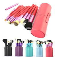 Wholesale Makeup Brush Cup Case - 12 PCS MakeUp Brush Cosmetic Set Eyeshadow wood Brush Blusher Tools + Pink Cup Holder Case Make up Brushes