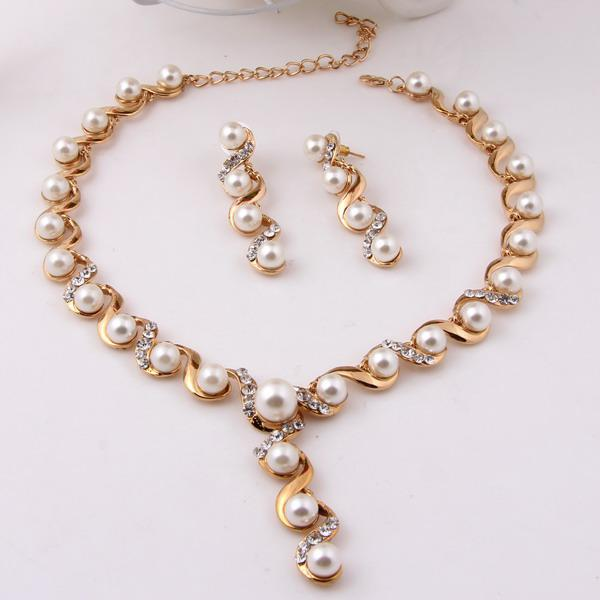 Cheap Pearl Necklace Sets: 2018 Wholesale Fashion Imitation Pearls Necklace Earrings