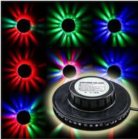 Wholesale Voltage Usa - Rotating Mini 48pcs LEDs Red Green Blue Light Sunflower LED RGB Round Stage Light Input Voltage AC 90-240V