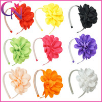 Wholesale Grosgrain Bows Hair Flowers - 9 Colors Flower Hair Band Grosgrain Ribbon Bow Hairbands For Girls Children Hair Accessories Teeth Band 18 Pcs lot