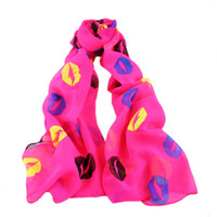 Wholesale Printed Shades - Fashion Hot sale Soft Chiffon Colorful Girl Scarves Sex Lip Print Scarf Shawl Wrap Shades Trend