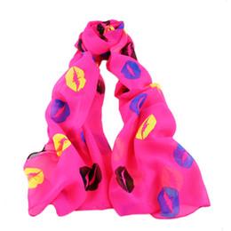 Wholesale Printed Shades - Fashion Hot sale Soft Chiffon Colorful Girl Scarves Sex Lip Print Scarf Shawl Wrap Shades Trend