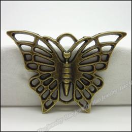 Wholesale Metal Crimps - Free shipping 30pcs Vintage Charms Butterfly Pendant Antique bronze,silver Fit Bracelets Necklace DIY Metal Jewelry Making