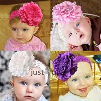 Wholesale Crochet Pink Headband For Babies - 2015 Fashion Cuty Baby Peony Flower Hair Clip with Stretchy Crochet Headband for Girl Pettiskirt