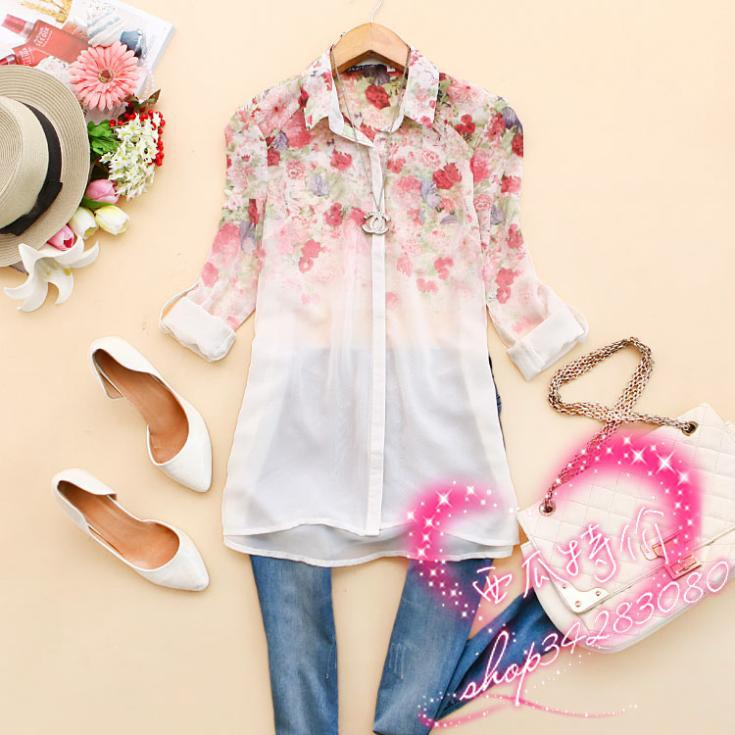 New Fashion Floral Print Chiffon Blouse Shirts Casual Elegant ...