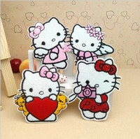 Wholesale Applique Patterns Kids - Wholesales 20 Pieces Mixed 4 Pattern Cartoon Cat Kids Patch Embroidered Applique Kids Patch Iron on Patch (ALL)