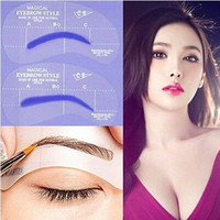 Wholesale Making Eyebrow Templates - 4 Pcs Lot Eyebrow Stencil Tool Makeup Styles Eye Brow Template Shaper Make Up Tool [JC05006*1]