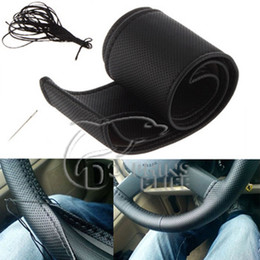 Wholesale Pu Steering Wheel - DIY Car steering wheel covers Black PU car styling wear-resisting supper soft Universal Perfectly fit easy to operating