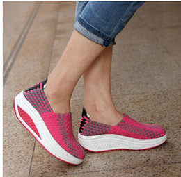 Wholesale Lifting Weights Women - 2014 New arrival women's fashion sneaker shoes knitted increased Shake shoes weight lifting sports running shoe free shipping