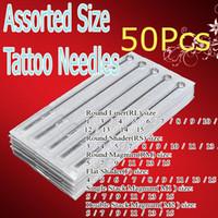 kits pro tatuagem venda por atacado-50x Pré-fabricados Esterilizado Tattoo Gun Agulhas Assorted Tattoo Kits de Abastecimento Para Iniciantes Artistas Pro