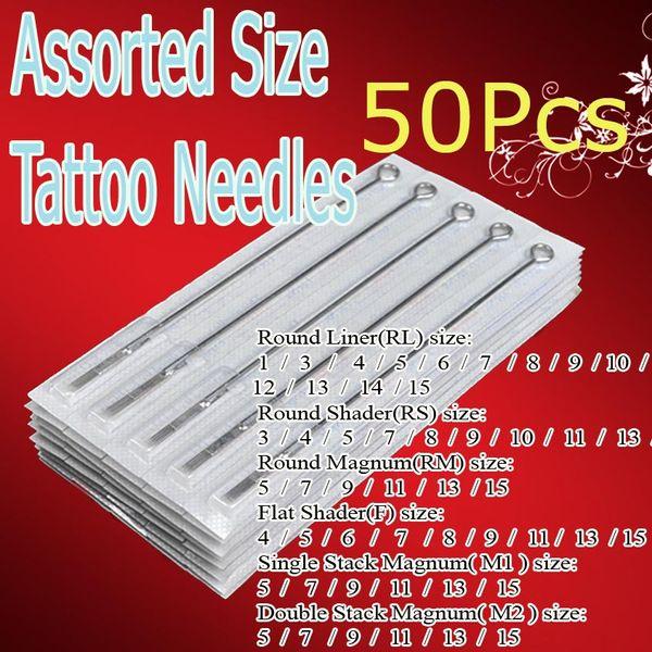 50x aiguilles de pistolet de tatouage préfabriquées assorties de kits de tatouage pour les artistes débutants Pro