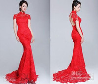 Wholesale Cheongsam New Design - 2016 Red lace backless High Colar Short Sleeves Open Back Lace Sheath Cheongsam Wedding Dresses mermaid sheath high quality new design new