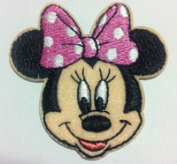 Wholesale Pink Iron Patches - Wholesale~10 Pieces Cartoon Pink Bow Minnie Kids Patch (5 x 5 cm) Embroidered Applique Iron On Patch (W)