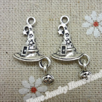 Wholesale witch bracelets - 30 pcs Vintage Charms Witches hat Pendant Antique silver Fit Bracelets Necklace DIY Metal Jewelry Making