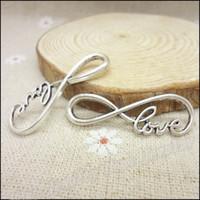 conector de joyas de amor al por mayor-45 unids encantos de la vendimia alfabeto amor conector colgante de plata antigua Fit collar de las pulseras DIY Metal fabricación de joyas