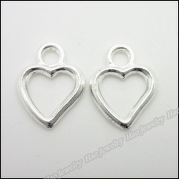 Wholesale Jewelry Making Metal Heart Charms - 140 pcs Vintage Charms Heart Love Pendant Bright silver Fit Bracelets Necklace DIY Metal Jewelry Making