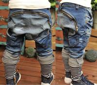 Wholesale Denim Boys - Spring Autumn Boys Jeans Zipper Haren pants Long Jeans Children Clothing K0122