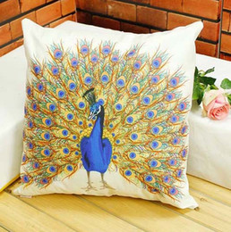peacock decorative Canada - Throw Cushion Cover Beautiful Bird Peacock Feather Pattern Pillow Case Decorative Sofa Couch Car Cushions Pillows Covers Present