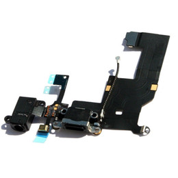 Wholesale Iphone5 Connector - Black Original Dock Charger Charging Connector Flex Cable for iPhone5 iphone 5 10pcs Lot