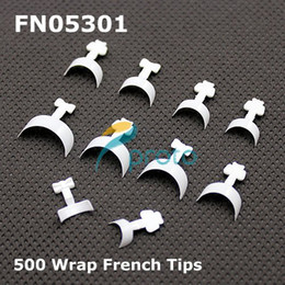 Wholesale Tips Nails Short Wrap - Wholesale-MN-500 Short French Manicure White Wrap Nail Tips In The Style Of Dashing Diva Nail Wraps Acrylic Nails SKU:A0038