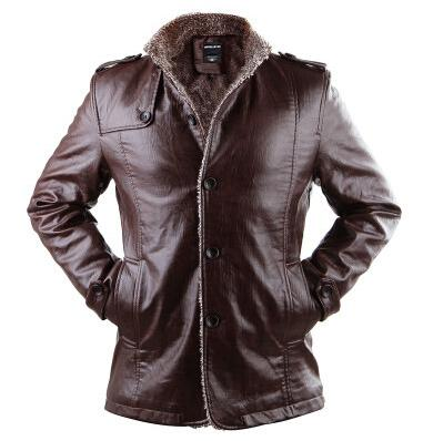 top popular Clearance !!! New Winter Jacket Men PU Leather Jackets Man Stand Collar Medium Length Thicken Lining Button Outerwear Plus Size 2019