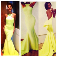 Wholesale Halterneck Prom Dress - Nicole dramatic train cute peplum at the low back daring cutaway halterneck backless yellow Michael Costello Prom Evening Celebrity dresses