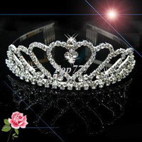 Wholesale Mexican Headbands Flower - Wedding Bridal Bridesmaid Flower Girls Love Crystal Tiara Crown Headband